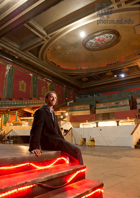 Mar. 22, 2013; Drew Elegante sits the State Theater in downtown South Bend. Elegante is a former MBA student with plans to renovate and re-purpose the space...Photo by Matt Cashore/University of Notre Dame