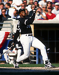 CHICAGO - 1993:  Frank Thomas of the Chicago White Sox bats during the American League Championship Series against the Toronto Blue Jays at Comiskey Park in Chicago, Illinois.  Thomas played for the White Sox from 1990-2005. (Photo by Ron Vesely)