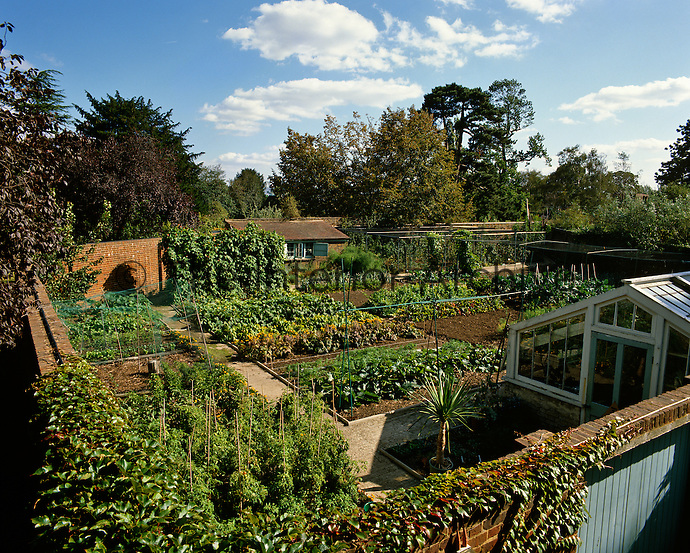 Aerial view of the walled kitchen garden at Kew Gardens, London