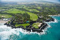 Aerial of Kohala Coast development amid lava fields