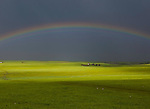Rainbow over the steppe, Mongolia