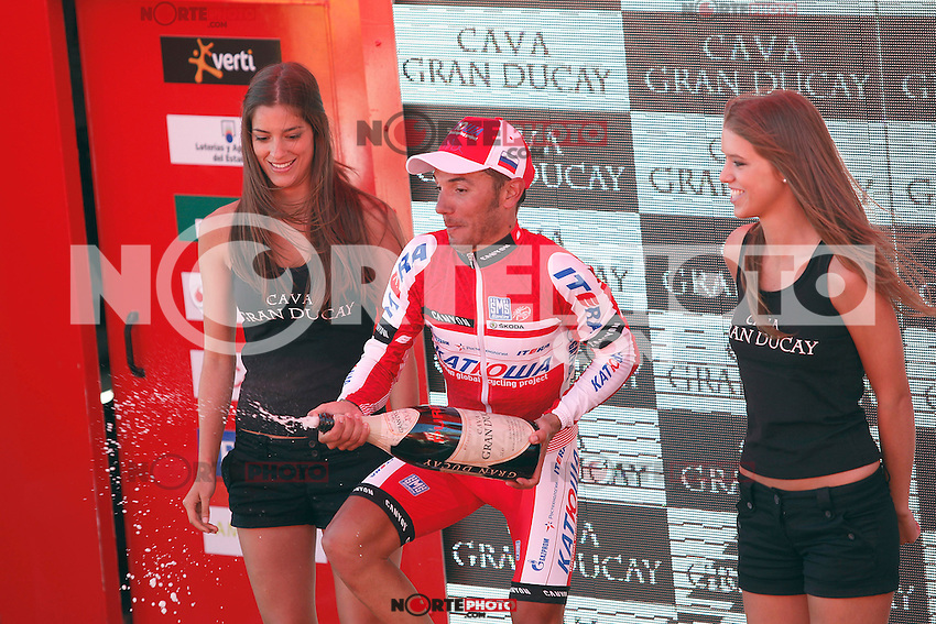 Joaquin Purito Rodriguez celebrates the victory in the stage of La Vuelta 2012 between Vilagarcia de Arousa and Mirador de Erazo (Dumbria).August 30,2012. (ALTERPHOTOS/Acero) /NortePhoto.com<br />