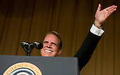 Washington, D.C. - April 21, 2007 - Comedian Rich Little impersonates former United States President Jimmy Carter at the White House Correspondents Association Dinner April 21, 2007 in Washington, DC.  Comedian Rich Little hosted and provided entertainment for President George W Bush, White House reporters, their guests and celebrities. .Credit: Brendan Smialowski - Pool via CNP