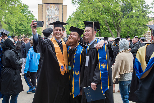 May 15, 2016; Graduates take selfies, Commencement 2016. (Photo by Matt Cashore/University of Notre Dame)