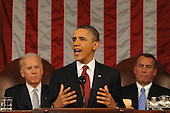 United States President Barack Obama delivers his State of the Union address before a joint session of Congress on Tuesday, January 24, 2012 on Capitol Hill in Washington, DC. U.S. Vice President Joe Biden (L) and Speaker of the U.S. House John Boehner (Republican of Ohio) are seated in the background. .Credit: Saul Loeb / Pool via CNP