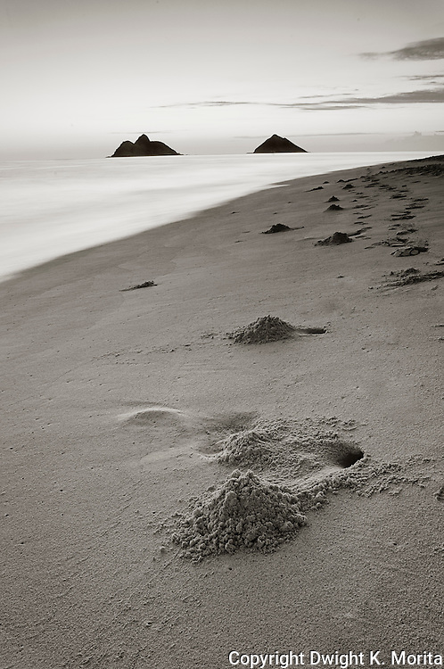 Crab holes and sand hills mark Lanikai beach in in the twilight hour before dawn.  Mokulua Islands in the background.
