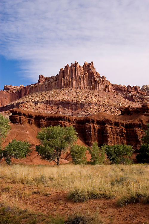 Capitol Reef National Park, Utah, UT, The Castle from the Visitor's Center, rock formation, landform, arid, Southwest America, American Southwest, US, United States, Image ut403-18128, Photo copyright: Lee Foster, www.fostertravel.com, lee@fostertravel.com, 510-549-2202