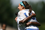 09 September 2012: Duke's Laura Weinberg (16) celebrates her first goal with Natasha Anasi. The Duke University Blue Devils defeated the Marquette University Golden Eagles 5-2 at Koskinen Stadium in Durham, North Carolina in a 2012 NCAA Division I Women's Soccer game.