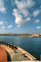 Havana Cuba, Skyline, El Morro Castle, Cannons, Clouds,  Vertical,