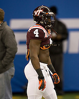 David Wilson of Virginia Tech warms up before Sugar Bowl game against Michigan at Mercedes-Benz SuperDome in New Orleans, Louisiana on January 3rd, 2012.  Michigan defeated Virginia Tech, 23-20 in first overtime.
