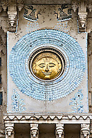Circular salver showing sun-face in gleaming brass, engraved on the wall of City Palace in Udaipur India. (Photo by Matt Considine - Images of Asia Collection)