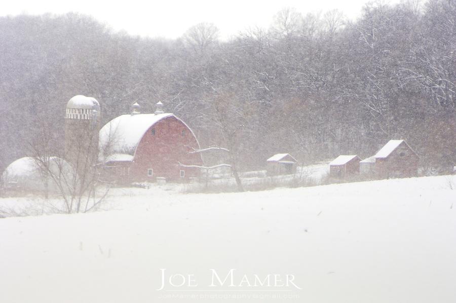 Rural Minnesota farm during winter snow storm