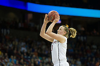 SPOKANE, WA - MARCH 30, 2013: Mikaela Ruef drains two during the third round NCAA Championships game matching Stanford vs Georgia at the Spokane Arena. The Cardinal fell to the Bulldogs 61-59.