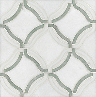 Kelly, a stone water jet mosaic, shown in Calacatta Tia, Thassos, Ming Green, is part of the Ann Sacks Beau Monde collection sold exclusively at www.annsacks.com