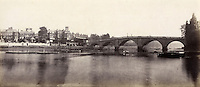 BNPS.co.uk (01202 558833)<br /> Pic: Bonhams/BNPS<br /> <br /> Prout's picture of Richmond Bridge.<br /> <br /> 'Old man river, he just keeps rollin' - A remarkable collection of panoramic photographs of the Thames taken 160 years ago have emerged for auction, and they reveal how little the famous old river has changed in the last century and a half.<br /> <br /> They follow the river from London to Oxford in 40 photographs providing a fascinating insight into how the famous river looked in the mid-19th century.<br /> <br /> Londoner Victor Prout started photographing the Thames in 1857 using a camera which would produce wide-vision images because of a lens that swung round and 'scanned' sections of the picture.<br /> <br /> This rare complete copy of the first edition of Prout's pioneering panoramics has emerged for auction and is tipped to sell for &pound;12,000 when they go under the hammer at Bonhams on March 1.