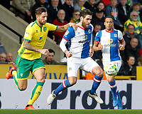 Blackburn Rovers' Danny Graham gets away from Norwich City's Mitchell Dijks<br /> <br /> Photographer David Shipman/CameraSport<br /> <br /> The EFL Sky Bet Championship - Norwich City v Blackburn Rovers - Saturday 11th March 2017 - Carrow Road - Norwich<br /> <br /> World Copyright &copy; 2017 CameraSport. All rights reserved. 43 Linden Ave. Countesthorpe. Leicester. England. LE8 5PG - Tel: +44 (0) 116 277 4147 - admin@camerasport.com - www.camerasport.com
