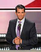 Donald Trump, Jr. makes remarks at the 2016 Republican National Convention held at the Quicken Loans Arena in Cleveland, Ohio on Tuesday, July 19, 2016.<br /> Credit: Ron Sachs / CNP<br /> (RESTRICTION: NO New York or New Jersey Newspapers or newspapers within a 75 mile radius of New York City)