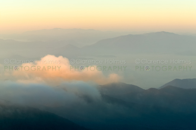 View southwest toward Fontana Lake just after sunrise from Clingman's Dome, Great Smoky Mountains National Park