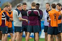England manager Roy Hodgson addresses the England team before training