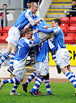 St Johnstone v Motherwell.....19.05.13      SPL.Nigel Hasselbaink celebrates his goal with his team mates..Picture by Graeme Hart..Copyright Perthshire Picture Agency.Tel: 01738 623350  Mobile: 07990 594431