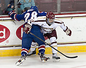Jake Suter (UML - 28), Quinn Smith (BC - 27) - The University of Massachusetts Lowell River Hawks defeated the Boston College Eagles 4-2 (EN) on Tuesday, February 26, 2013, at Kelley Rink in Conte Forum in Chestnut Hill, Massachusetts.