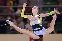 October 18, 2001; Madrid, Spain:  NATALIA GODUNKO of Ukraine performs with rope at 2001 World Championships at Madrid.