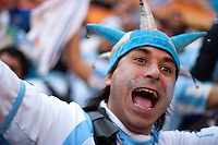An Argentina fan celebrates his team's victory at Soccer City in Johannesburg, South Africa on Thursday, June 17, 2010 during Argentina's and South Korea FIFA World Cup first round match.