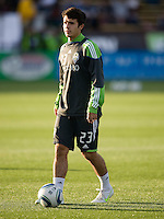Servando Carrasco of Sounders warms up during practice before the game against the Earthquakes at Buck Shaw Stadium in Santa Clara, California on April 2nd, 2011.   San Jose Earthquakes and Seattle Sounders are tied 2-2.