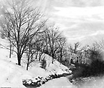 Highland Park: View of walking path that leads to Lake Carnegie in  Highland Park.  The area was opened in 1894 for boating and fishing in the summer and ice skating in the winter. The Stewart family visited the park often since they lived nearby on Wellesley Avenue in Highland Park.