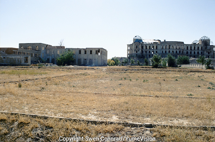 The backyard of the National Museum in 1999 and the Darulaman King Palace on the right..Under the Taleban government in 1996-2001, the National Museum star to be rebuild. Kabul, Afghanistan.