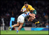Caption Correction...right Australian Name  Scott Sio   Image &copy;Licensed to i-Images Picture Agency. 08/10/2016. London, United Kingdom. Argentina vs Australia. Argentina vs Australia at Twickenham in the Personal The Rugby Championship Cup.<br /> <br /> Australia's No13 Samu Kerevi is tackled by Argentina<br />  Picture by Andrew Parsons / i-Images