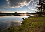 Idaho, Eastern, Island Park. Sunset on Silver Lake at Harriman State Park in summer.