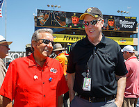 Jul 30, 2016; Sonoma, CA, USA; NHRA president Peter Clifford (right) with team owner Don Schumacher during qualifying for the Sonoma Nationals at Sonoma Raceway. Mandatory Credit: Mark J. Rebilas-USA TODAY Sports