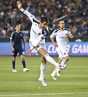 CARSON, CA – May 14, 2011: LA Galaxy forward Juan Pablo Angel (9) makes his goal kick during the match between LA Galaxy and Sporting Kansas City at the Home Depot Center in Carson, California. Final score LA Galaxy 4, Sporting Kansas City 1.