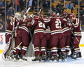 The Eagles gather around their net following the anthem. - The Boston College Eagles defeated the Boston University Terriers 3-1 (EN) in their opening round game of the 2014 Beanpot on Monday, February 3, 2014, at TD Garden in Boston, Massachusetts.