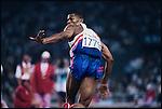 4x400m relay finals, men. Quincy Watts (USA) gold. Summer Olympics, Barcelona, Spain, August 1992