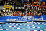 INDIANAPOLIS, IN - MARCH 18: Teams cheer on the  Swimmers of the 1650 Yard Freestyle during the Division I Women's Swimming & Diving Championships held at the Indiana University Natatorium on March 18, 2017 in Indianapolis, Indiana. (Photo by A.J. Mast/NCAA Photos via Getty Images)