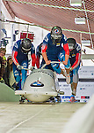 9 January 2016: Russian pilot Nikita Kakharov leads his 4-man team as they push off their first run of the day at the BMW IBSF World Cup Bobsled Championships at the Olympic Sports Track in Lake Placid, New York, USA. Kakharov's team came in 10th for the day, with a 2-run combined time of 1:50.97. Mandatory Credit: Ed Wolfstein Photo *** RAW (NEF) Image File Available ***