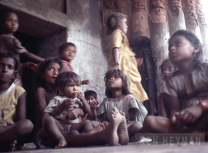 Children in their clubhouse, Calcutta, India