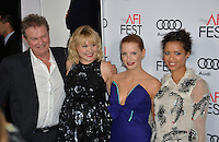 LOS ANGELES, CA. November 11, 2016: Director John Madden &amp; actresses Alison Pill, Jessica Chastain &amp; Gugu Mbatha-Raw at premiere of &quot;Miss Sloane&quot;, part of the AFI Fest 2016, at the TCL Chinese Theatre, Hollywood.<br /> Picture: Paul Smith/Featureflash/SilverHub 0208 004 5359/ 07711 972644 Editors@silverhubmedia.com