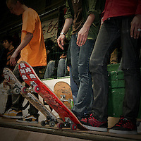 Young people with skateboard
