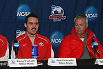 15 December 2007: Ohio State's Eric Edwards and head coach John Bluem. The Ohio State Buckeyes held a press conference at SAS Stadium in Cary, North Carolina one day before playing in the NCAA Division I Mens College Cup championship game.