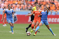 Houston, TX - Saturday April 15, 2017: Andressa and Vanessa DiBernardo battle for control of the ball during a regular season National Women's Soccer League (NWSL) match won by the Houston Dash 2-0 over the Chicago Red Stars at BBVA Compass Stadium.