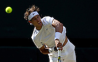 RAFAEL NADAL (ESP) (1) against ANDY MURRAY (GBR) (4) in the Semi-Finals of the Gentlemen's Singles. Rafael Nadal beat Andy Murray 5-7 6-2 6-2 6-4..Tennis - Grand Slam - Wimbledon - AELTC - London- Day 11 - Fri July 1st 2011..© AMN Images, Barry House, 20-22 Worple Road, London, SW19 4DH, UK..+44 208 947 0100.www.amnimages.photoshelter.com.www.advantagemedianetwork.com.