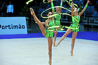 Senior rhythmic group from Greece performs at 2010 World Cup at Portimao, Portugal on March 13, 2010.  (Photo by Tom Theobald).