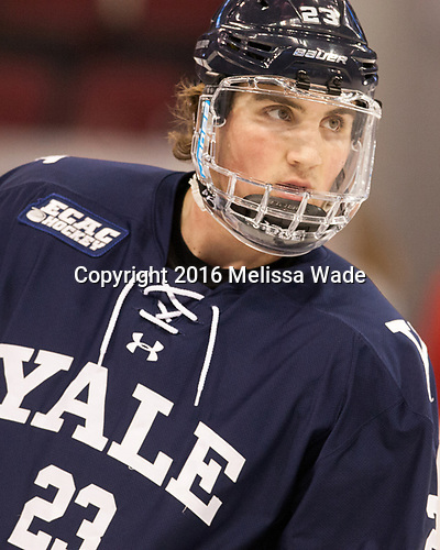 Charlie Curti (Yale - 23) The Boston University Terriers defeated the visiting Yale University Bulldogs 5-2 on Tuesday, December 13, 2016, at the Agganis Arena in Boston, Massachusetts.
