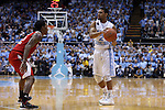24 February 2015: North Carolina's Joel Berry II (2) and NC State's Anthony (Cat) Barber (12). The University of North Carolina Tar Heels played the North Carolina State University Wolfpack in an NCAA Division I Men's basketball game at the Dean E. Smith Center in Chapel Hill, North Carolina. NC State won the game 58-46.