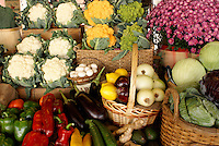 Fresh vegetables for sale in the Lachine Market, Montreal, Quebec, Canada