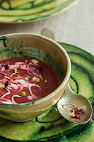 Beetroot soup with ginger cream