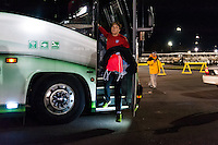 Abby Wambach (14) of the United States (USA) steps off the bus prior to an international friendly against Germany (GER) at Rentschler Field in East Hartford, CT, on October 23, 2012.